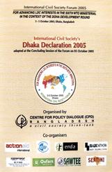 Book Cover: International Civil Society's Dhaka Declaration 2005