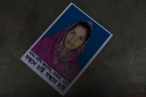 Akhi, a worker of Rana Plaza, was still part of the missing on May 24, a month after the collapse of the building. (Photo: Libération/Taslima Akhter)