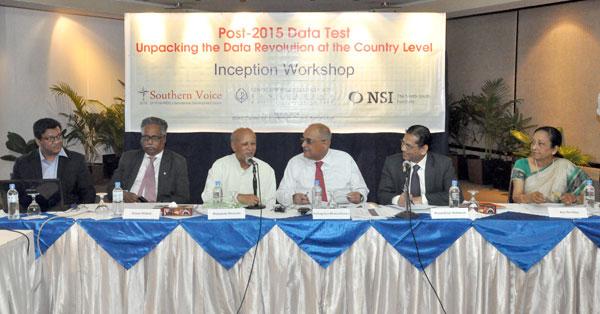 (left) Mr Towfiqul Islam Khan; Dr Ainun Nishat; Dr Mahabub Hossain; Dr Debapriya Bhattacharya; Professor Mustafizur Rahman and Ms Riti Ibrahim.