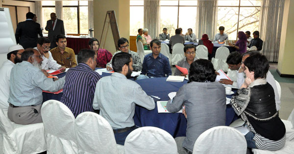 Workshop participants in group discussion