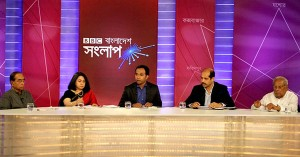 (left) Panellists: Mr HT Imam - Prime Minister's Adviser on Public Administration Affairs; Member of the Advisory Council of Awami League; Dr Fahmida Khatun - Research Director of Centre for Policy Dialogue (CPD), one of the country's leading think-tanks; Mr Md Atiqul Islam - President of Bangladesh Garment Manufacturers and Exporters Association (BGMEA) and Mr MK Anwar - Member of the National Standing Committee of BNP; Former Commerce Minister.