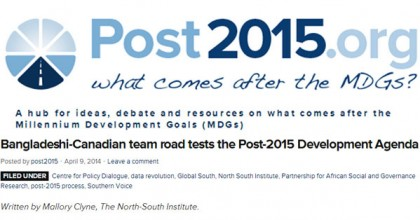Bangladeshi-Canadian team road tests the Post-2015 Development Agenda