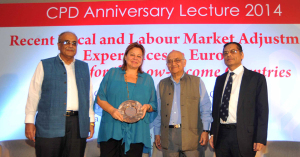 (left) Debapriya Bhattacharya, Louka Katseli, Rehman Sobhan and Mustafizur Rahman