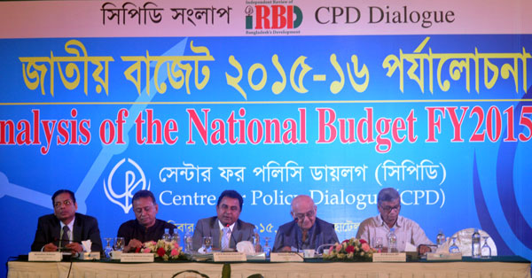 (left) Professor Mustafizur Rahman, Amir Khosru Mahmud Chowdhury, AHM Mustafa Kamal, Rehman Sobhan and MA Mannan