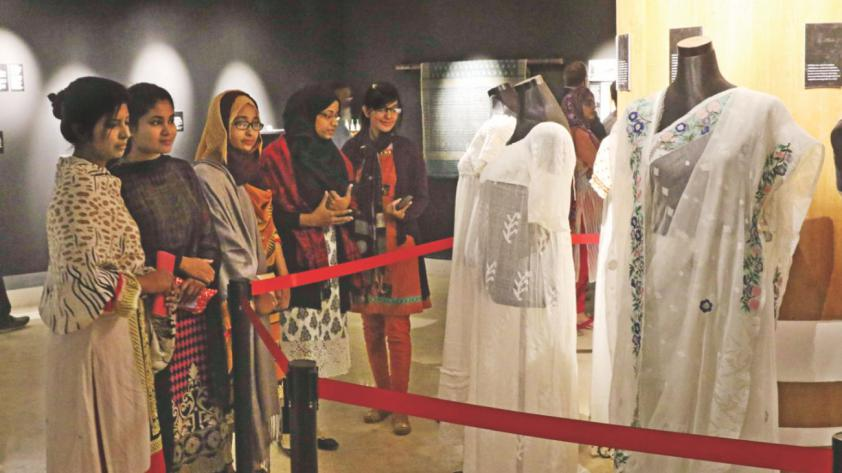 Visitors crowd the month-long muslin festival at Bangladesh National Museum in Dhaka yesterday. Photo: Star