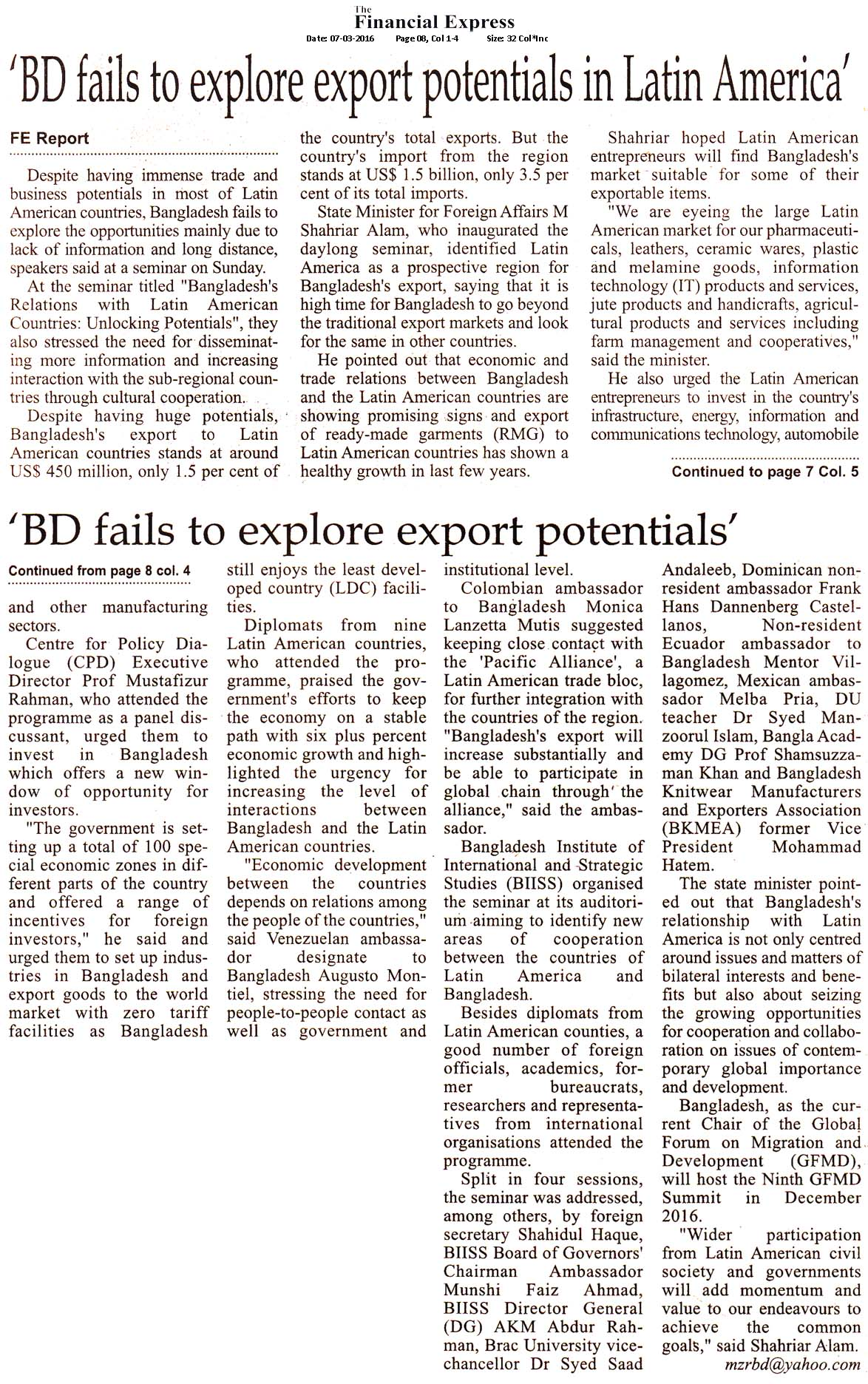 Financial Express, Page 08, March 07, 2016