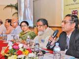 Centre for Policy Dialogue (CPD) executive director Professor Mustafizur Rahman speaks at a dialogue on education budget on Monday. CPD and Campaign for Popular Education jointly organised the programme at a city hotel. — FE Photo