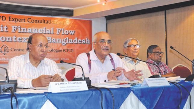 Debapriya Bhattacharya, distinguished fellow of the CPD, speaks at a discussion on capital flight, at Brac Centre Inn in Dhaka yesterday. Photo: Star