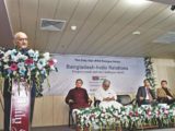 """Eminent economist Prof Rehman Sobhan speaks at a dialogue on """"Bangladesh-India relations: progress made and challenges ahead"""", jointly organised by The Daily Star and the Institute for Policy, Advocacy, and Governance, at The Daily Star Centre in Dhaka yesterday. Photo: Star"""