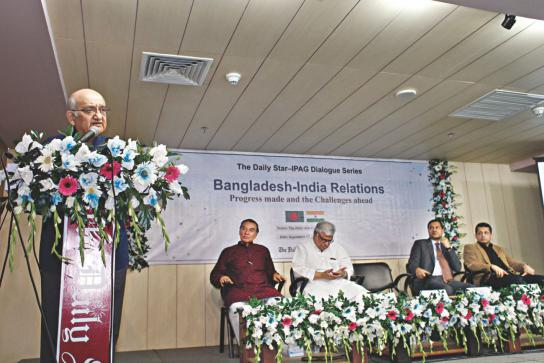 "Eminent economist Prof Rehman Sobhan speaks at a dialogue on ""Bangladesh-India relations: progress made and challenges ahead"", jointly organised by The Daily Star and the Institute for Policy, Advocacy, and Governance, at The Daily Star Centre in Dhaka yesterday. Photo: Star"