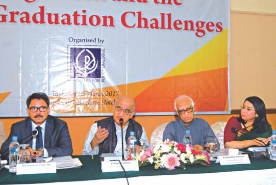 Rehman Sobhan, chairman of Centre for Policy Dialogue, speaks at a discussion at Lakeshore Hotel in Dhaka yesterday. Md Shahriar Alam, state minister for foreign affairs, Wahiduddin Mahmud, an economist, and Fahmida Khatun, executive director of CPD, are also seen. Photo: CPD