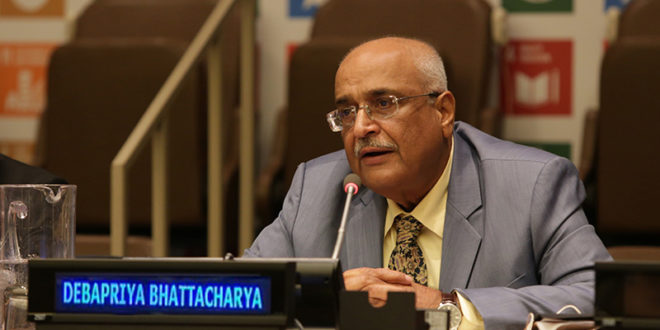 "Dr Debapriya Bhattacharya, Chair of Southern Voice and Distinguished Fellow, CPD speaking at the session titled ""Leveraging Interlinkages for Effective Delivery of SDGs,"" at the UN High-Level Political Forum (HLPF), New York, on 14 July 2017"