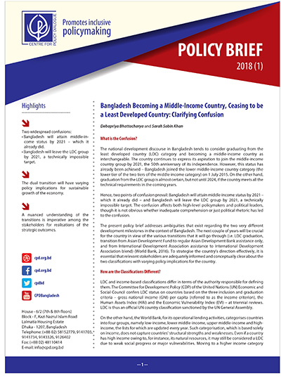 foto de Policy Brief 1 - Bangladesh Becoming a Middle-Income Country ...